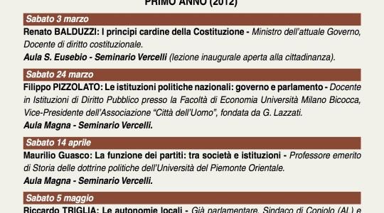 Itinerario di ricerca e formazione all'impegno socio-politico